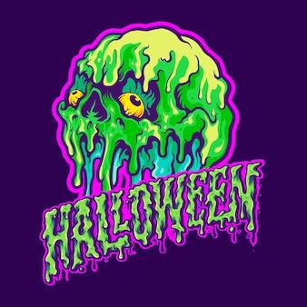 Skull melting halloween text illustrazioni vettoriali per il tuo lavoro logo, t-shirt di merce mascotte, adesivi e design di etichette, poster, biglietti di auguri che pubblicizzano società o marchi.