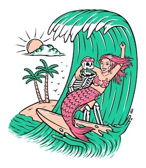 Teschio e sirena surf