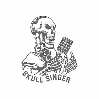 Illustrazione di vettore del cantante di jazz dei microfoni e del cranio