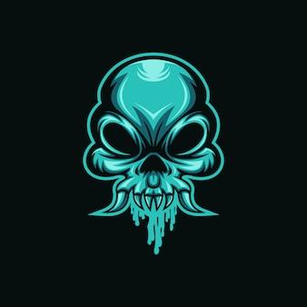 Illustrazione di vettore del cranio del mostro del cranio del mostro Vettore Premium