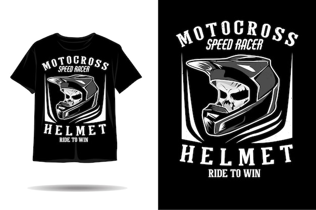 Disegno della maglietta della siluetta del casco di motocross del cranio