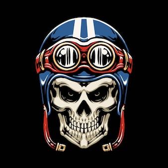 Disegno dell'illustrazione del casco del motociclo del cranio