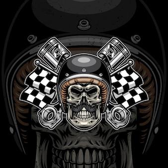 Disegno dell'illustrazione del logo della motocicletta del cranio