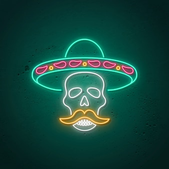 Insegna al neon teschio. design al neon luminoso per day of the dead - dia de muertos.
