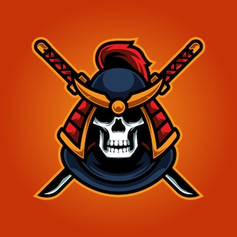 Logo mascotte skull ninja e sport