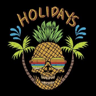 Illustrazione vettoriale di teschio ananas vacanze