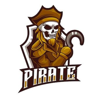Teschio pirata, mascotte esports logo illustrazione vettoriale