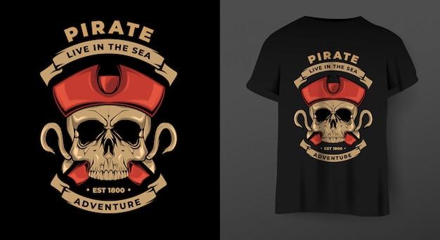 Teschio pirata con gancio. illustrazione per la stampa di t-shirt.