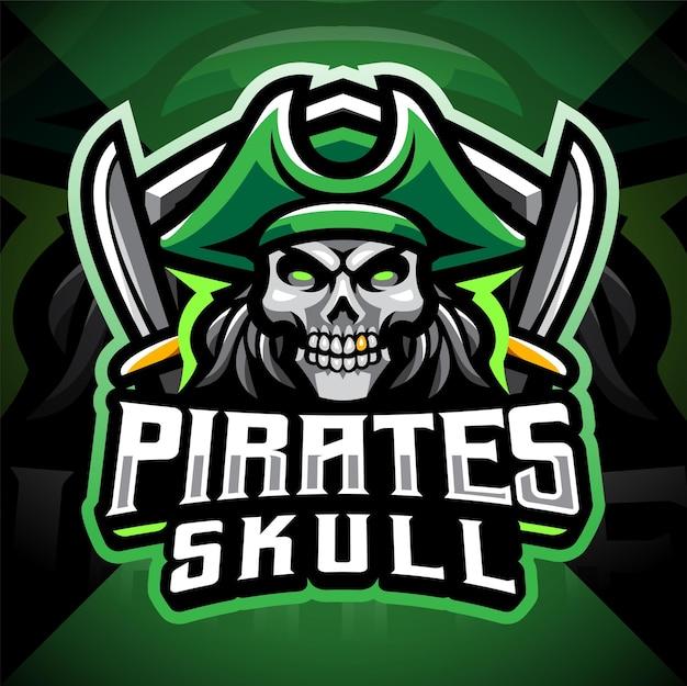 Design del logo di gioco della mascotte dei pirati del cranio