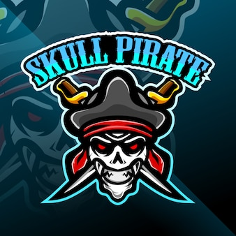 Logo di gioco mascotte teschio pirati