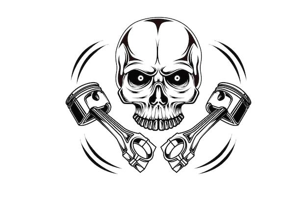 Illustrazione del disegno a mano dell'illustrazione del pistone del cranio