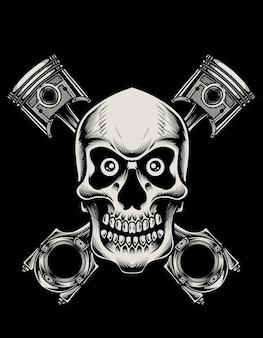Motocicletta del pistone del cranio