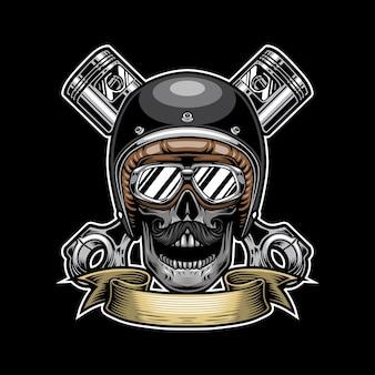 Concetto di design del logo da corsa del cranio
