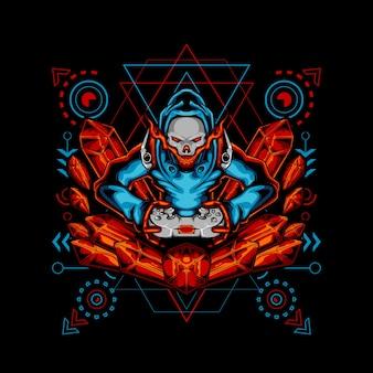 Geometria sacra del giocatore di diamante rosso del cranio