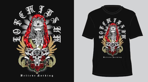 T-shirt religione teschio