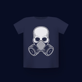 Teschio in respiratore, maschera antigas, stampa su t-shirt