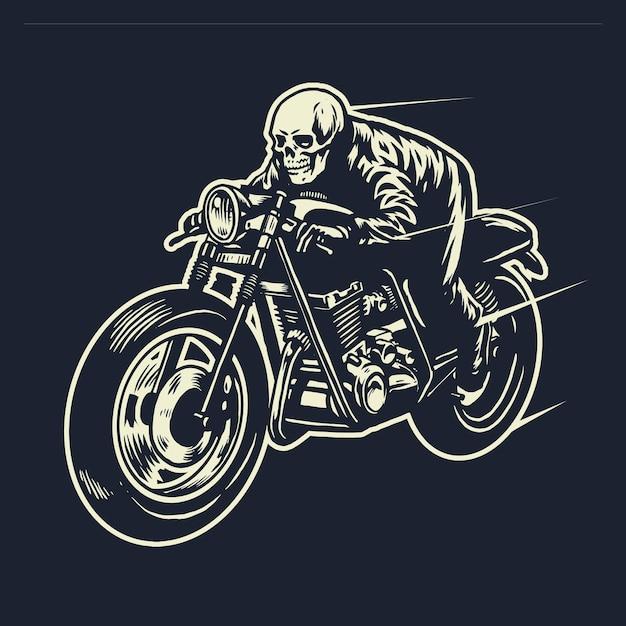 Skull cavalca la moto cafe racer