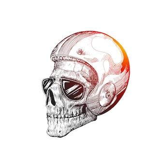 Cavaliere del teschio che indossa un casco per un'illustrazione vettoriale di guida sicura