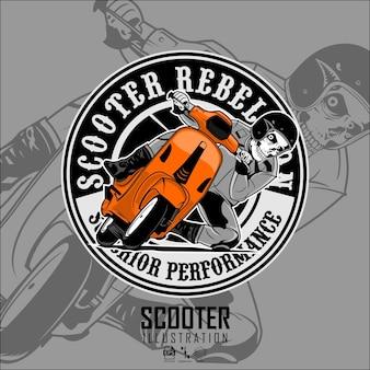 Teschio in guida di un'illustrazione di scooter con sfondo grigio