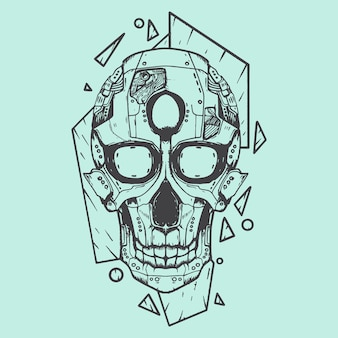 Illustrazione di arte del cranio robot stencil bianco e nero