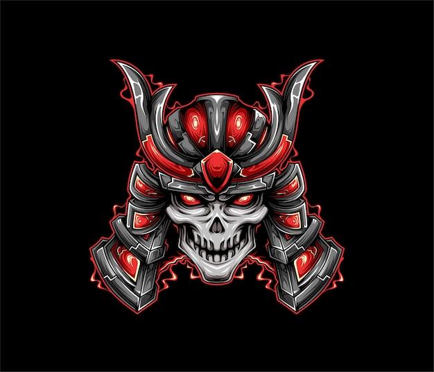 Stile geometrico dell'illustrazione del samurai del cranio
