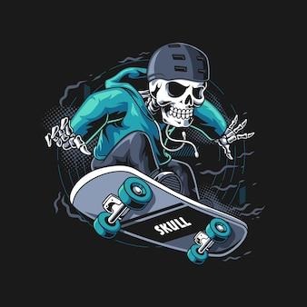 Illustrazione di skateboarder del cranio