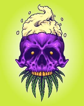 Illustrazioni di mascotte di cannabis fumo teschio