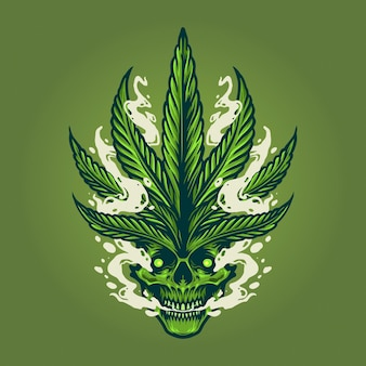 Illustrazioni di fumo del cranio illustrazioni di marijuana foglia di erbaccia