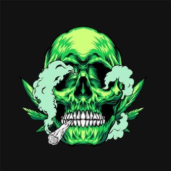 Illustrazione del cranio che fuma marijuana