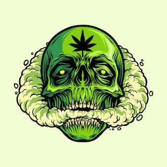 Cranio che fuma una mascotte di marijuana