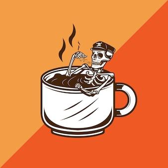 Teschio immerso in una tazza di caffè mentre fuma illustrazione vettoriale di sigaretta cigarette