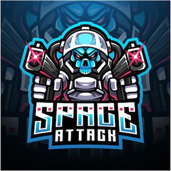 Logo della mascotte dell'esport di attacco spaziale del cranio