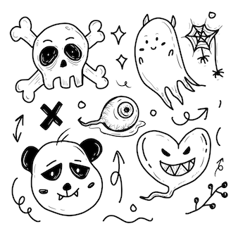 Insieme di doodle dell'autoadesivo del mostro del fumetto di halloween spettrale del cranio