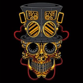 Illustrazione steampunk del cranio