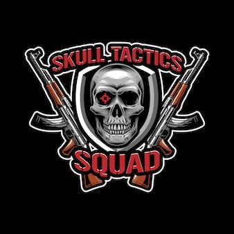 Concetto di design del logo di tattiche del cranio