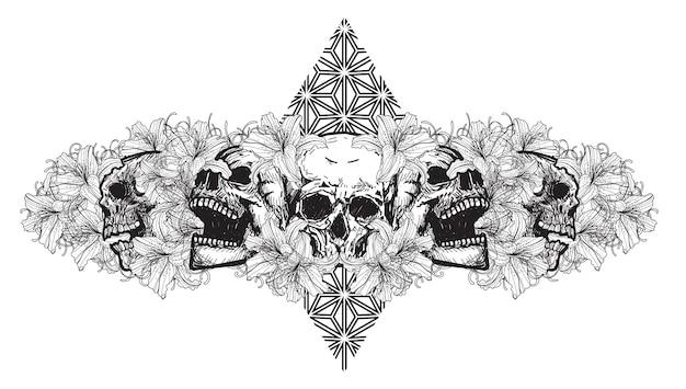 Arte del tatuaggio teschio con fiori disegno schizzo in bianco e nero