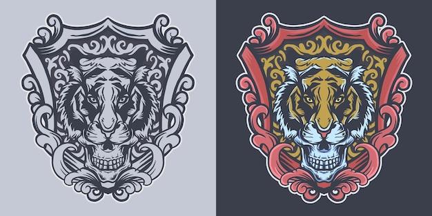 Testa di tigre del cranio