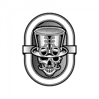 Cranio in cappello a cilindro in stile steampunk illustrazione