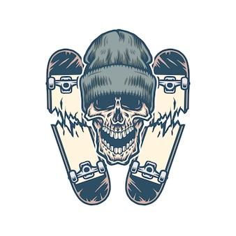 Cranio e due skateboard rotti, linea disegnata a mano con colori digitali, illustrazione,