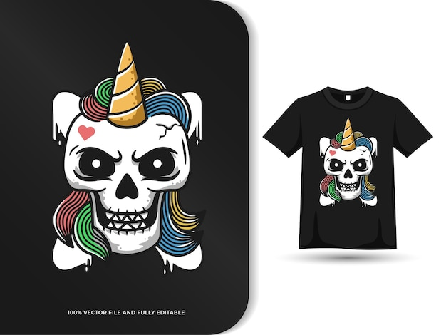 Teschio unicorno testa hipster concetto carino design con modello di tshirt