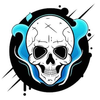 Icona di vettore del cranio adatta per la stampa di biglietti di auguri, poster o t-shirt.