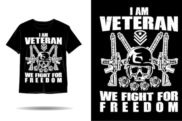 Teschio veterano lotta per il design della maglietta silhouette libertà