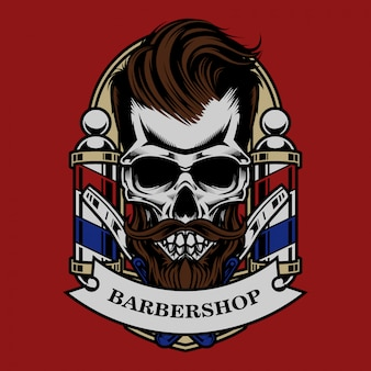 Teschio vintage barbershop illustrazione e design tshirt