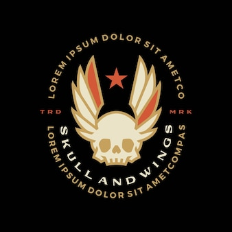 Illustrazione dell'icona di vettore del logo del merch della maglietta del distintivo delle ali del teschio