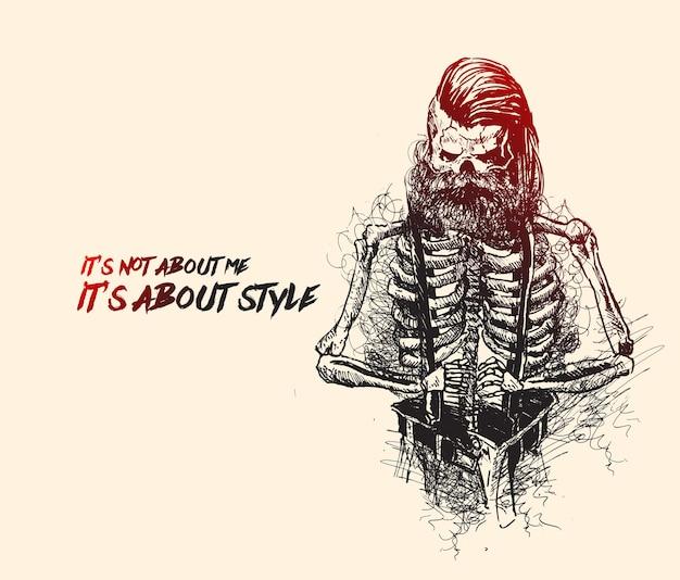 Teschio con barba e baffi stile hipster per il design di moda creativo disegnato a mano sketch vector