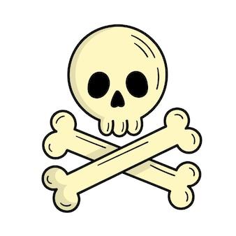 Teschio con ossa, segno pirata. mistico. halloween. illustrazione in stile scarabocchio