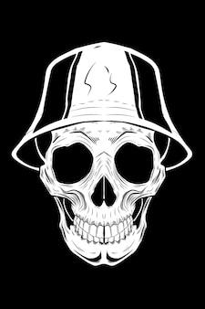 Teschio con illustrazione vettoriale di cappello a secchiello