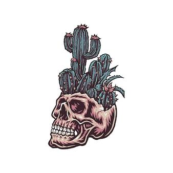 Cranio con cactus, illustrazione disegnata a mano