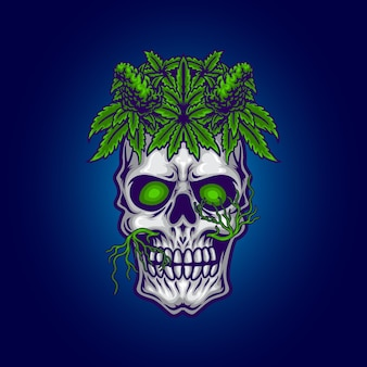 Teschio con illustrazione di foglie di cannabis