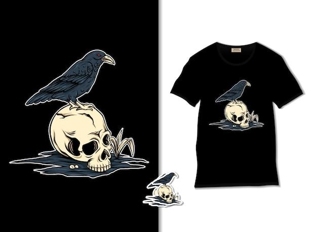 Cranio con illustrazione di corvo